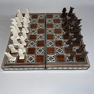 Chess Set: 14 inch Folding Camel Bone Pieces