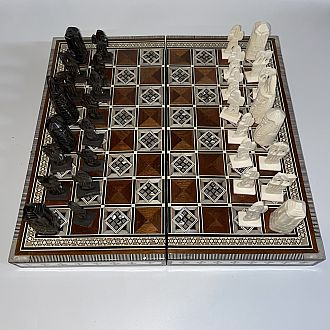 Chess Set: 16 inch Folding Camel Bone Pieces