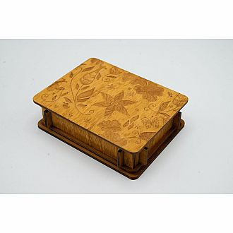 Button Box with Lotus Flower Pattern