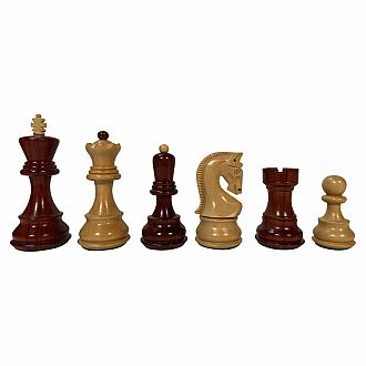 "Chessmen: Redwood Boxwood 3.75""K Double Weighted Felted"