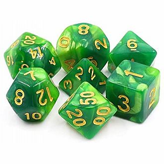 Lich's Aura green fusion w/ gold Polyhedral 7 dice set