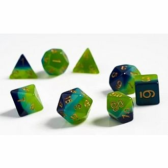 Green Blue Gold dice Polyhedral 7 set