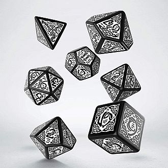 Celtic 3D Revised white black Polyhedral dice 7 Set