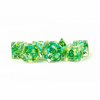 Semi Transparent Green Pearls - 7 Polyhedral dice