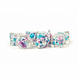 Semi Transparent purple teal w/ Pearls - 7 Polyhedral dice