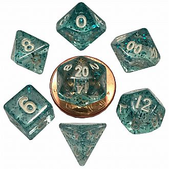 Mini Ethereal Light blue set - 7 Polyhedral dice