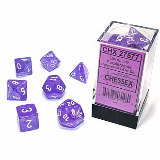 Borealis Luminary Purple w/ white 7 Polyhedral dice set
