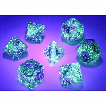 Borealis Luminary smoke silver 7 Polyhedral dice set