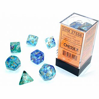 Nebula Ocean gold Luminary 7 polyhedral dice set
