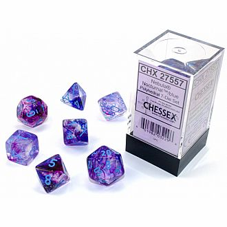 Nebula Nocturnal blue Luminary 7 polyhedral dice set