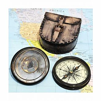 Brass Nautical Compass w leather case