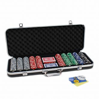 Complete Poker Set in Aluminum Case – 500 Chips