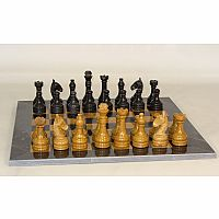 Chess Set Blk/Gold Marble 16""
