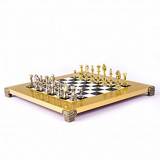 "Metal Staunton Chess set, 14"" Bronze board and gold/silver chessmen"