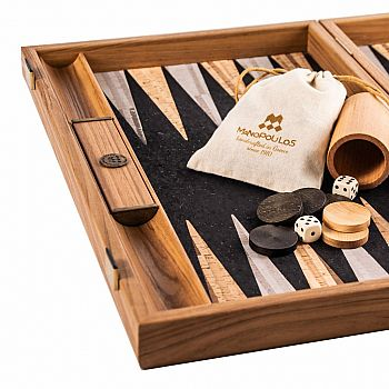 NATURAL CORK Backgammon (with olive wood checkers)